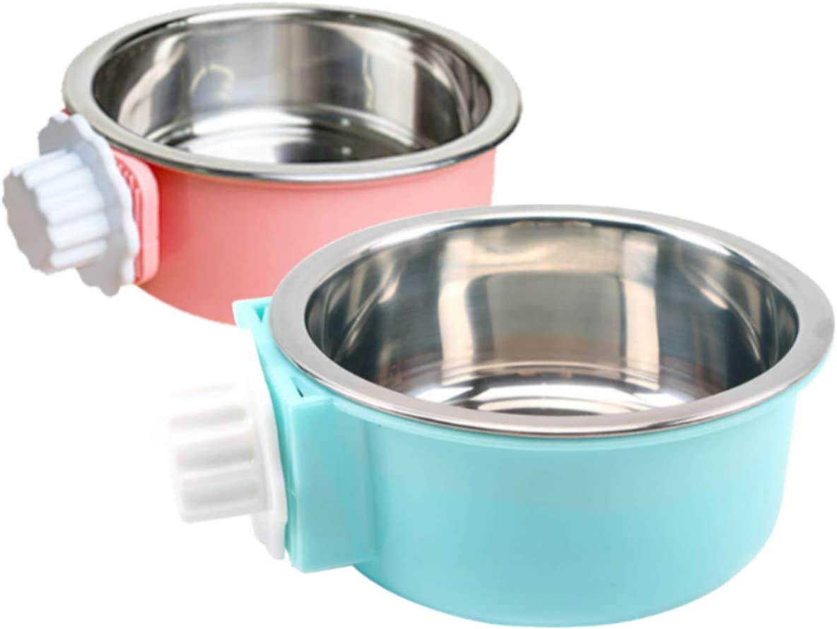 N/Y 2 Pcs Dog Crate Water Bowl No Spill, Stainless Steel Removable Food Bowl, No Spill Dog Bowl for Crate, Hanging Food Water Feeder Coop Cup for Pet