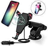 Wireless Car Charger for iPhone X, iPhone 8 / 8 Plus, and Other Qi-Enabled Devices , Provides Fast-Charging for Note 8 Galaxy S8/ S8+/ S7 / S7 edge / S6 edge+, and Note 5-Black