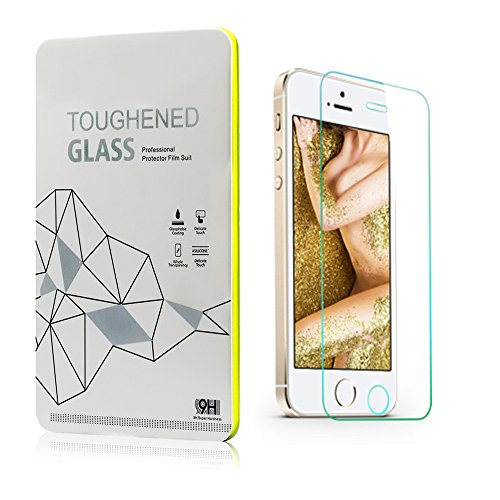 Leesentec 2-Pack Premium Tempered Glass Screen Protector for Apple iPhone 5s / 5 /5c HD Protection with Oleophobic