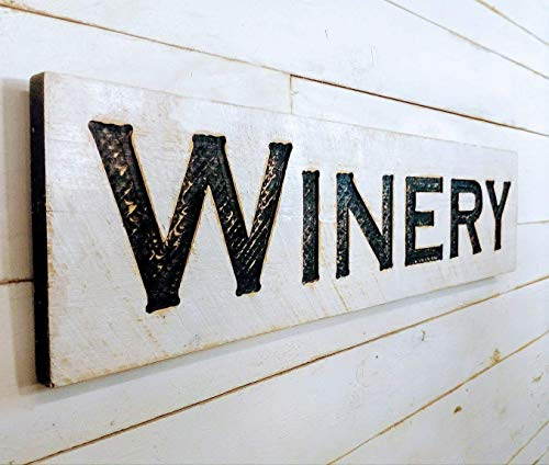 """Winery Sign Horizontal - 40""""x10"""" Carved in a Wood Board Rustic Distressed Shop Advertisement Bar Tap House Beer Restaurant Cafe Wooden"""