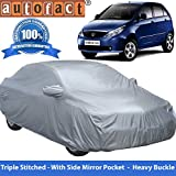 Autofact Premium Silver Matty Triple Stitched Car Body Cover with Mirror Pocket for Tata Indica