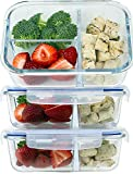 Glass Meal Prep Food Storage Containers Set – 3 Compartment Dishes with Extra High Divider - BPA Free, Microwavable, Perfect Portion Control Lunch Boxes - 3 Pack, Medium