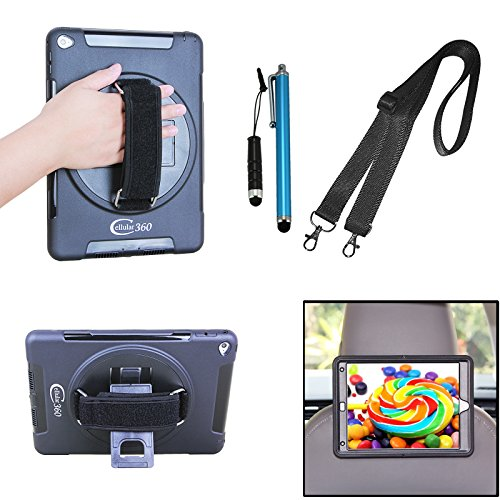 Cellular360 Apple iPad Air 2 Case with a Slide-out Kickstand and a Hand Grip Strap & Shoulder Strap Bundled with Mini Headphone Jack and a Stylus Pen