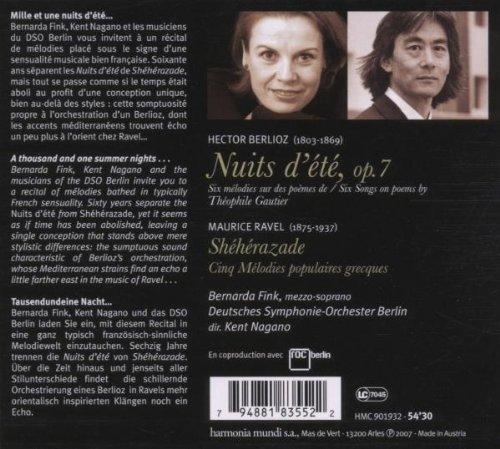Berlioz - Nuits d'été & Ravel - Shéhérazade · Cinq Mélodies populaires grecques / Fink · DSO · Nagano