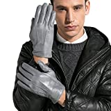 Magelier Men's Durable Full-hands Driving Fitness Motorcycle Cycling Unlined Leather Gloves, Grey