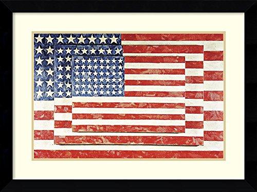 Framed Art Print, 'Three Flags' by Jasper Johns: Outer Size 33 x ()
