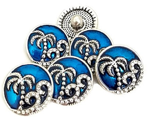 Blue Beach Sea Life Rhinestone Snap Charm Button (Rhinestone Snap)