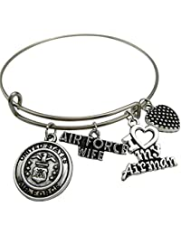 Stainless Steel Expandable Wire Bangle United States Air Force Wife Bracelet With I Love My Airman Charm