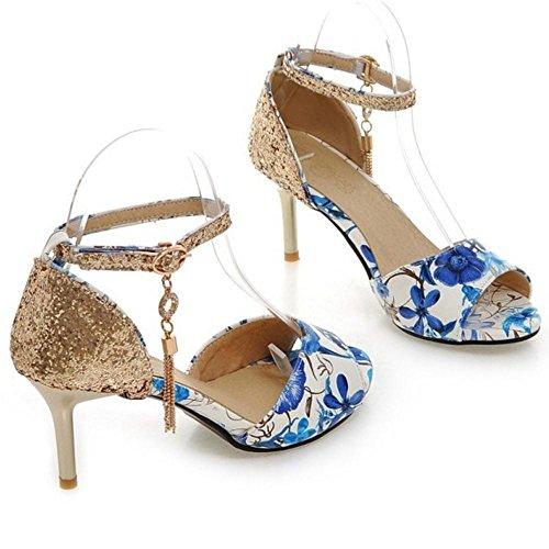 Femmes blue Bride Sandales TAOFFEN Cheville ACwPwq