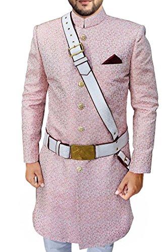 INMONARCH Mens Pink 4 Pc Wedding Groom Sherwani SH527S44 44 Short Pink by INMONARCH