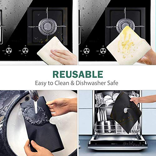 Kiorc Stove BurnerCovers Protectors 4Pack Black Burner Cover Reusable Heat Resistant