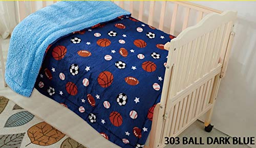 "Fancy Linen Faux Fur Flannel Borrego Soft Baby Throw Blanket with Sherpa Backing Warm and Cozy Stroller or Toddler Bed Blanket 40""x 50"" Dark Blue Sports Basketball Baseball Football Soccer from Fancy Linen"