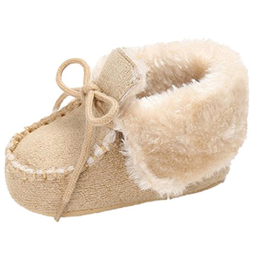 - Iuhan Cotton Baby Warm Snow Soft Sole Crib Shoes Anti-slip Toddler Button Flats Boot (Age:0-6Months, Beige)