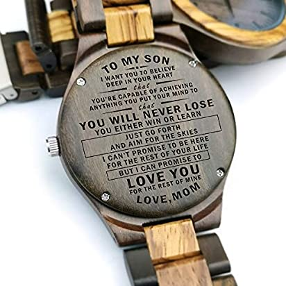 Engraved Wood Watches for Men Natural Zebra Wooden Wrist Watch -Personalized Wedding Anniversary Gift for Men (Y1809)