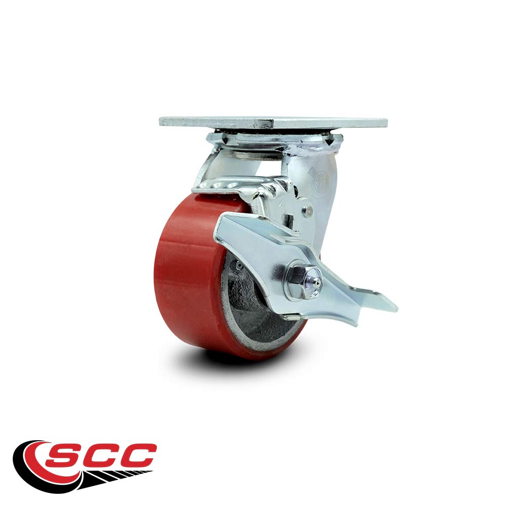 Service Caster - 4'' x 2'' Polyurethane Wheel Caster Set - Red on Silver - Swivel Casters w/Brakes - Non Marking - 2,800 Lbs Total Capacity - Set of 4 by Service Caster (Image #4)