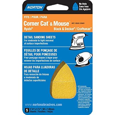 "Norton 07660702705 Iron Shape Sanding Sheet for Corner Cat/Mouse Sander, Hook and Loop, 5-1/2"" Length x 3-7/8"" Width, P180 Grit, Fine Grade (Pack of 5)"