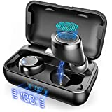 True Wireless Earbuds, VANKYO X200 Bluetooth 5.0 Earbuds in-Ear TWS Stereo Headphones with Smart LED Display Charging Case IPX8 Waterproof 120H Playtime Built-in Mic with Deep Bass for Sports Work