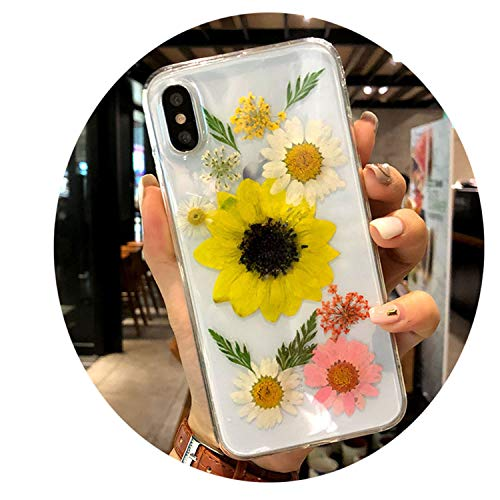 Real Dried Flower Phone Case for iPhone X Transparent Soft Handsome Pressed Back Cover for iPhone X 8 7 6S Plus Cases Women 04 for iPhone 6 6s Plus