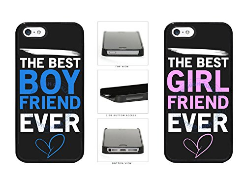 BleuReign(TM) Set Of 2 The Best Boyfriend Girlfriend Ever Plastic Phone Case Back Cover For Apple iPhone 5 5S