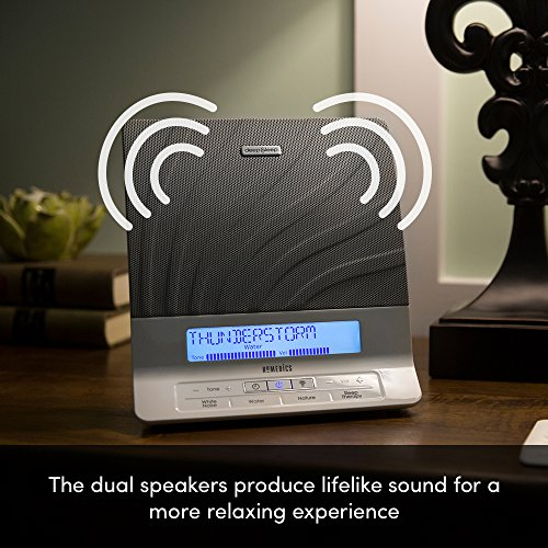 HoMedics Deep Therapy Noise Device, Remote, Timer, Dimmer, Dual Speakers Soothing Nature Sounds, 8 Sleep Therapy Programs