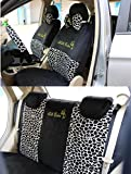 Black/Leopard Bow Front Rear Car Seat Cushion Cover Black&Gold 18pcs Full Set Needlework