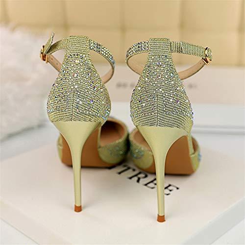 Moquite Col A Sandali Ed Moda Primavera Con Oro Donna Scarpe Shoes Nuovo Estate Femminile Alto Tacco 2019 Spillo Sexy g8wqrnXg