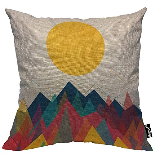 (Mugod Mountain and Sun Throw Pillow Beautiful Sunrise Sunset Stripe Yellow Blue Red Cotton Linen Square Cushion Cover Standard Pillowcase 18x18 Inch for Home Decorative Bedroom/Living Room/Car)