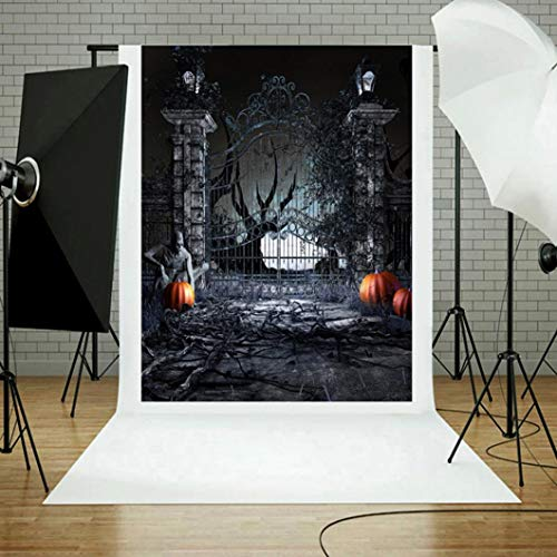vmree Indoor Photographic Studio Backdrop, Halloween Themed Photo Shooting Background Props Wall Hanging Screen Post-Production Curtain Folding & Washable Art Cloth 3x5FT. (M) -