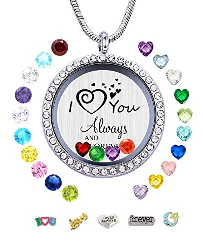 JOLIN I Love You Always and Forever Floating Charms Locket Necklace Pendant, Gifts for Mom Grandma Daughter Sister Aunt Niece Nana -