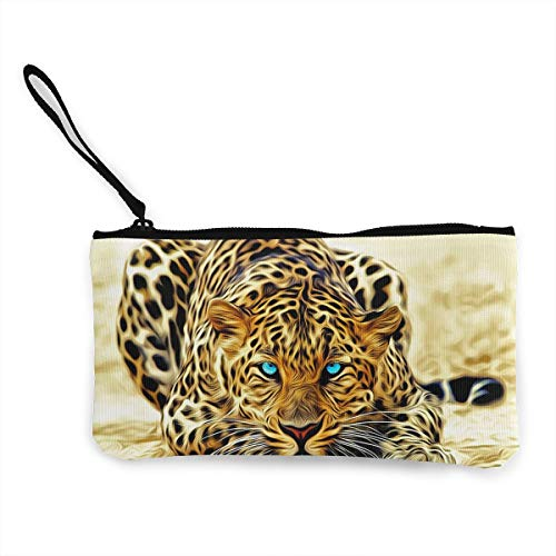 Oomato Canvas Coin Purse Blue Eyes Leopard Cosmetic Makeup Storage Wallet Clutch Purse Pencil -