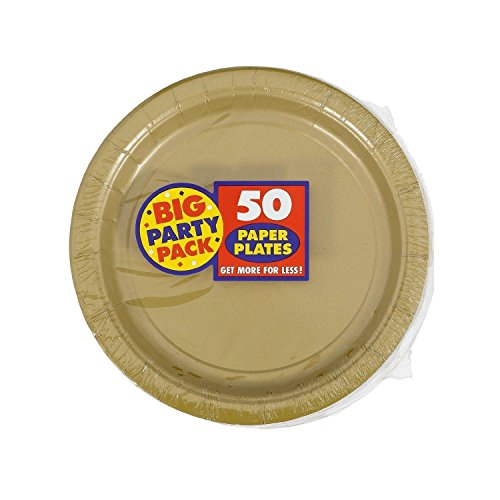 [Amscan Big Party Pack 50 Count Paper Dessert Plates, 7-Inch, Gold] (Childrens Food Halloween Costumes)