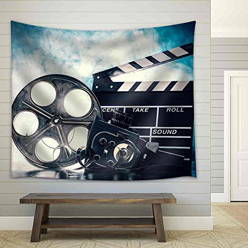 Retro Film Production Accessories Still Life Concept of Filmmaking Smoke Effect on Background Fabric Wall