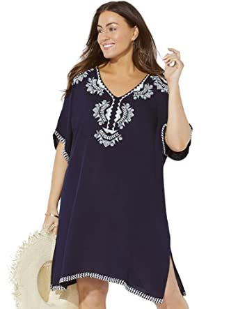 4bd0842edcc Swimsuits For All Women's Plus Size Embroidered Tunic Swimsuit Cover Up  14/16 Blue at Amazon Women's Clothing store: