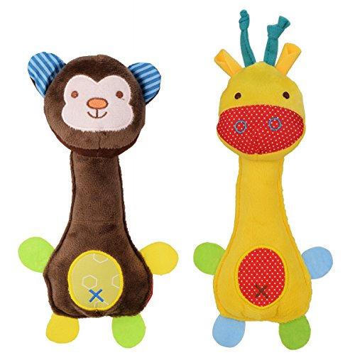 (wowowo Dog Plush Toys Squeaky Dog Toys Puppy Dog Chew Toys for Small and Medium Dogs, Giraffe & Monkey, Pack of 2)