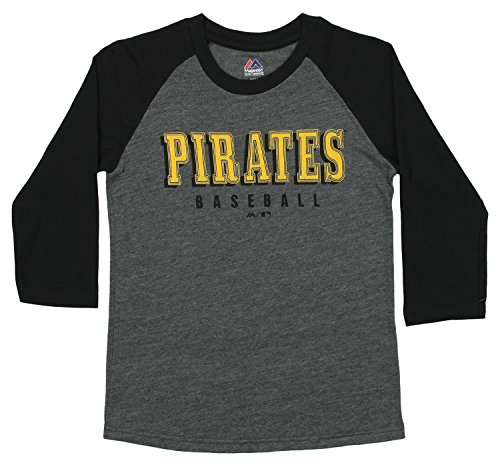 Outerstuff MLB Youth's Baseball Academy 3/4 Sleeve Raglan Tee, Pittsburgh Pirates Medium (10-12)