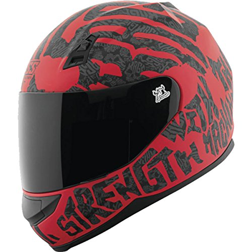 Speed and Strength Men's SS700 Rage with the Machine Street Motorcycle Helmet - Matte Red/Black / Medium