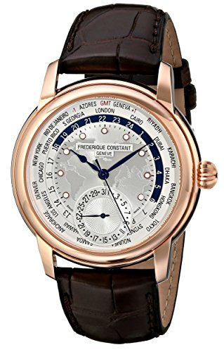 Frederique Constant Men's FC-718WM4H4 Worldtimer Rose Gold Watch