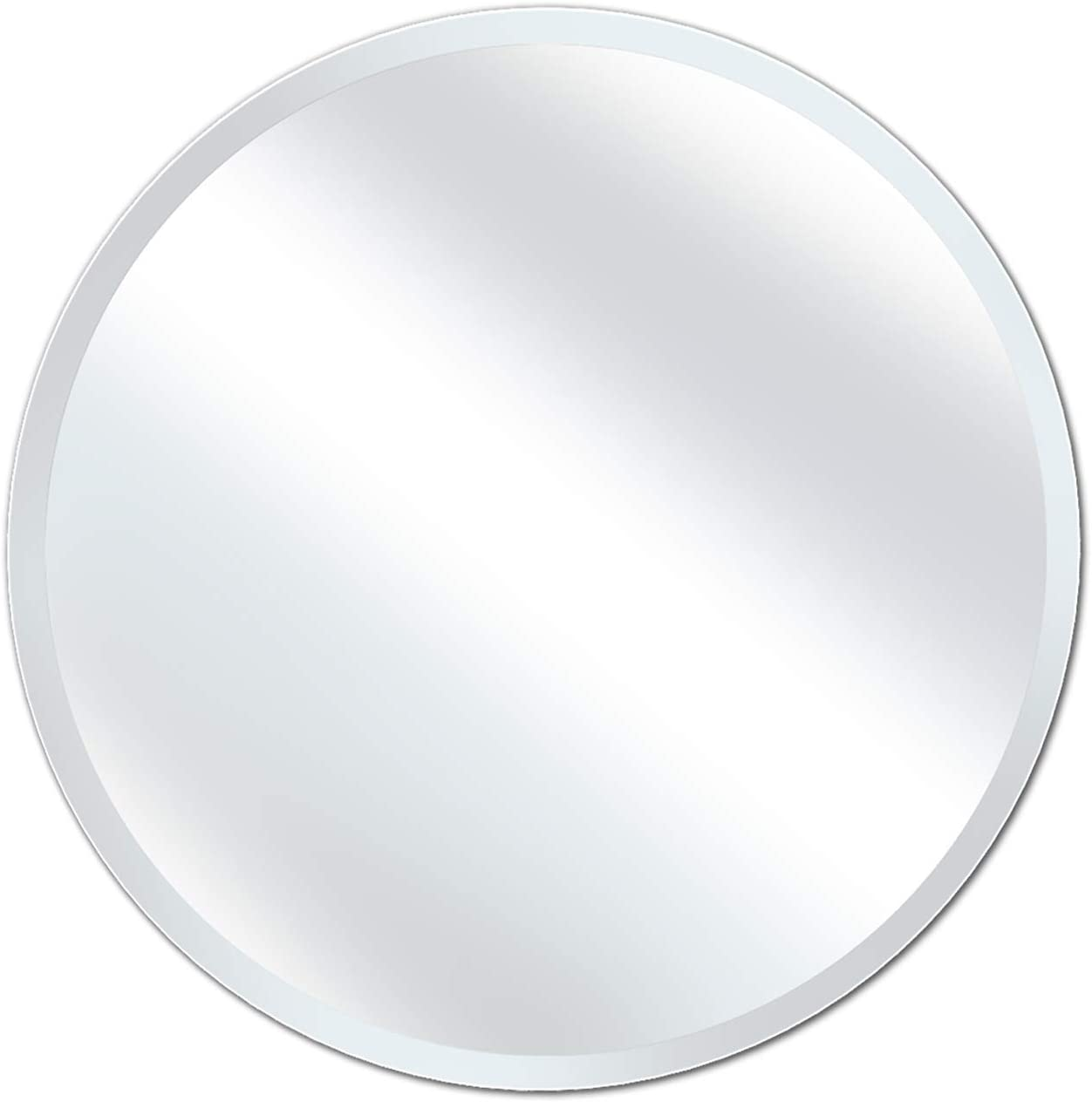 X Home 36 Inch Round Mirror, Large Beveled Frameless Wall Mirror for Bathroom, Vanity, Bedroom, Living Room, Dresser and Decor, Modern Style