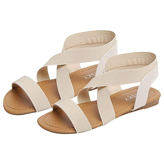 1fc71b065205fe Amazon.com  Women Roman Sandals Ankle Strap Espadrilles Summer Flats ...