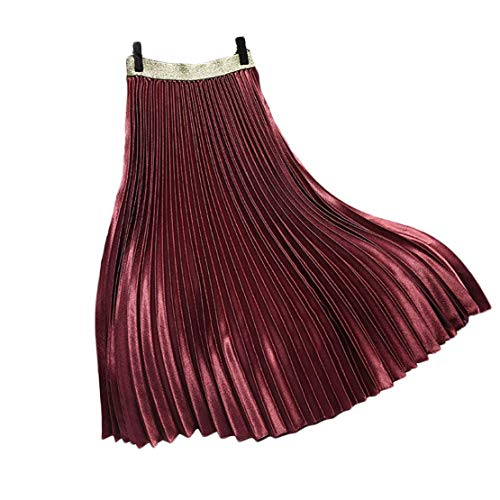 (Chartou Womens Elastic-Waist Accordion Pleated Metallic Long Party Skirt (Burdundy, one Size) )
