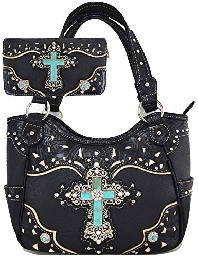 (Western Rhinestone Cross Concealed Carry Handbags Women Country Totes Tooled Leather Purse Wallet Black )