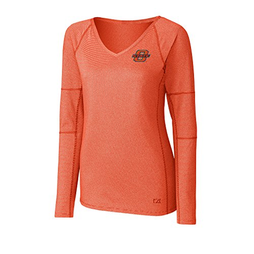 Cutter & Buck NCAA Oklahoma State Cowboys Adult Women Long Sleeve Victory V-Neck, 3X-Large, College Orange