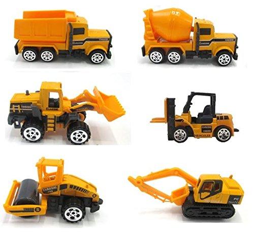 dazzling toys 6 Pack Construction Trucks Set | Includes 1 Cement Truck, 1 Bulk Truck, 1 Dump Truck and 1 Excavator.