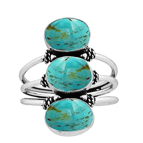 925 Silver Plated 9.80ct, Genuine Turquoise 8x10mm Oval Handmade Fashion Ring (Size6) 6x10mm Oval Turquoise Ring