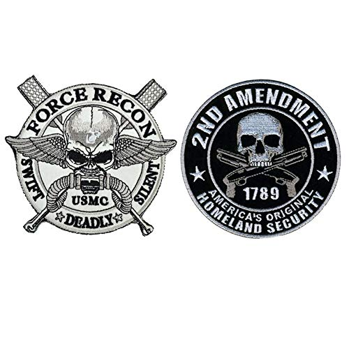 SOUTHYU 2 Pieces Military Tactical Morale Patches - 2nd Amendment 1789 Original Homeland Security & USMC Swift Deadly Silent Force Recon Embroidered Badge Emblem, Hook and Loop Patch