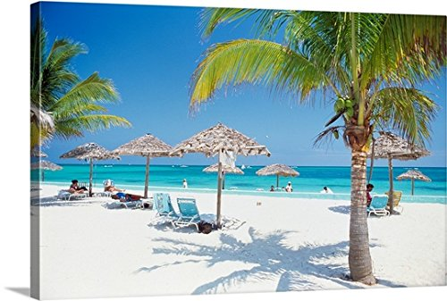 Canvas on Demand Premium Thick-Wrap Canvas Wall Art Print entitled Tourists on the beach 48