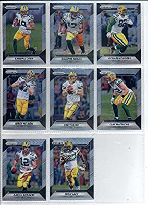 2016 Panini Prizm Football Green Bay Packers Team Set of 8 Cards in a Sealed Bag: Clay Matthews(#85), Aaron Rodgers(#89), Eddie Lacy(#99), Jordy Nelson(#109), Brett Favre(#115), Randall Cobb(#119), Davante Adams(#129), Richard Rodgers(#139)