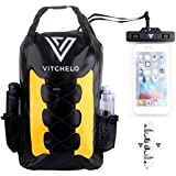 Vitchelo 30L Waterproof Dry Bag Backpack by for Outdoor Water Sports Kayaking Camping - Fly Fishing & Boating Gifts for Men - 100% Tear-Free, Lifetime Kayak Storage Bag - FREE Waterproof Phone Pouch