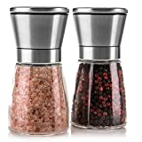 Salt and Pepper Mills, Henry Charles Brushed Stainless Steel Salt and Pepper Grinder Set (Pack of 2) with Adjustable Ceramic Coarseness Grinder and Glass Body - Salt and Pepper shakers