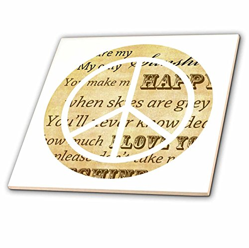 (3dRose ct_110430_3 You are My Sunshine Peace Sign Inspirational Art-Ceramic Tile, 8-Inch)